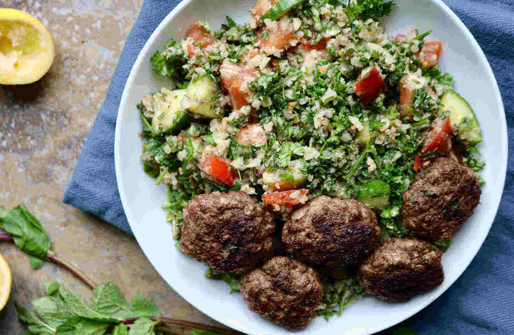 keto lamb kofta with cauli tabbouleh